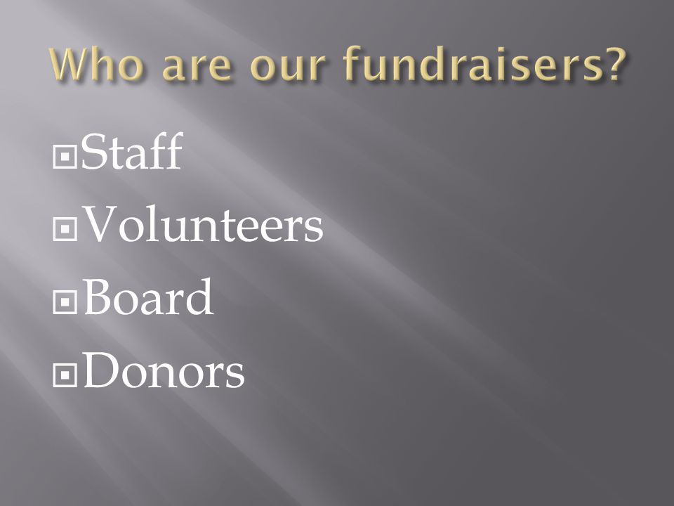 Who are our fundraisers