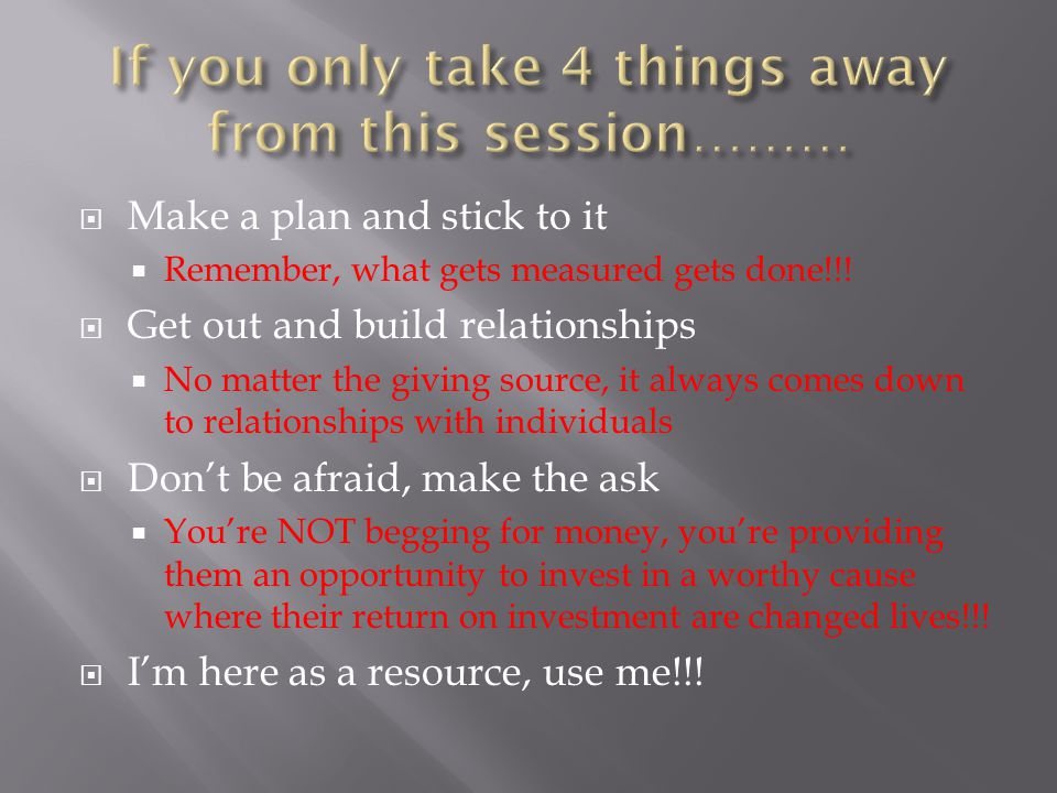 If you only take 4 things away from this session………