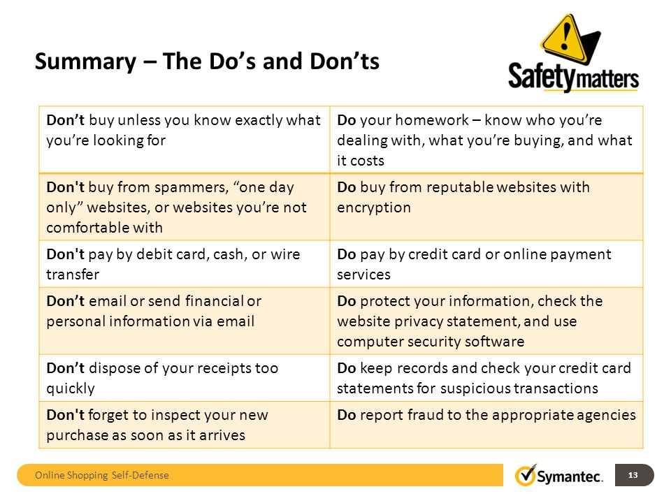 Summary – The Do's and Don'ts