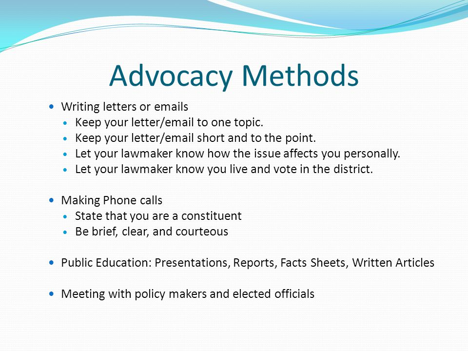 Advocacy Methods Writing letters or emails