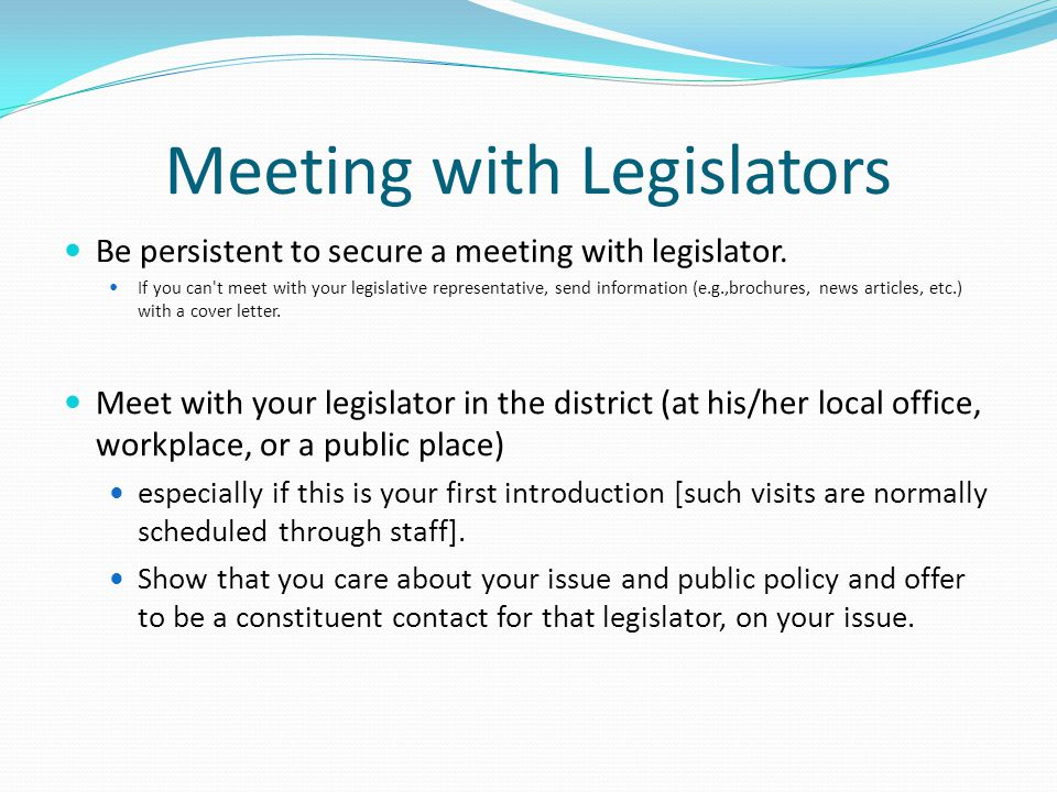Meeting with Legislators
