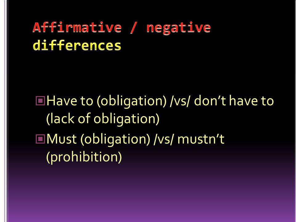 Affirmative / negative differences