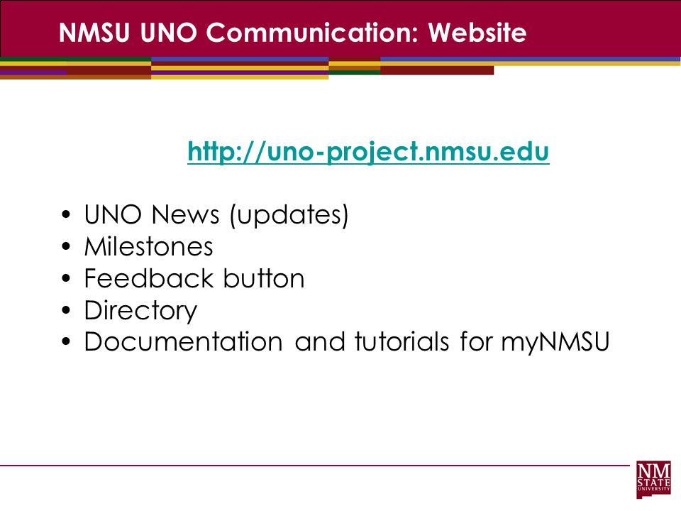 NMSU UNO Communication: Website