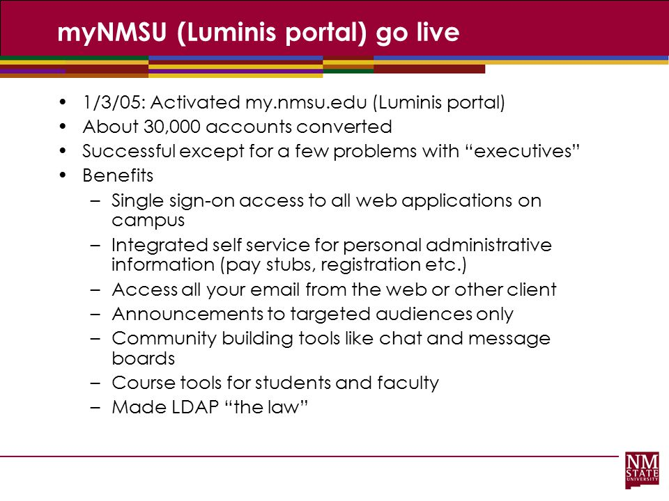 myNMSU (Luminis portal) go live
