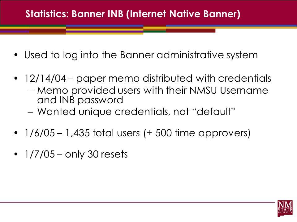 Statistics: Banner INB (Internet Native Banner)