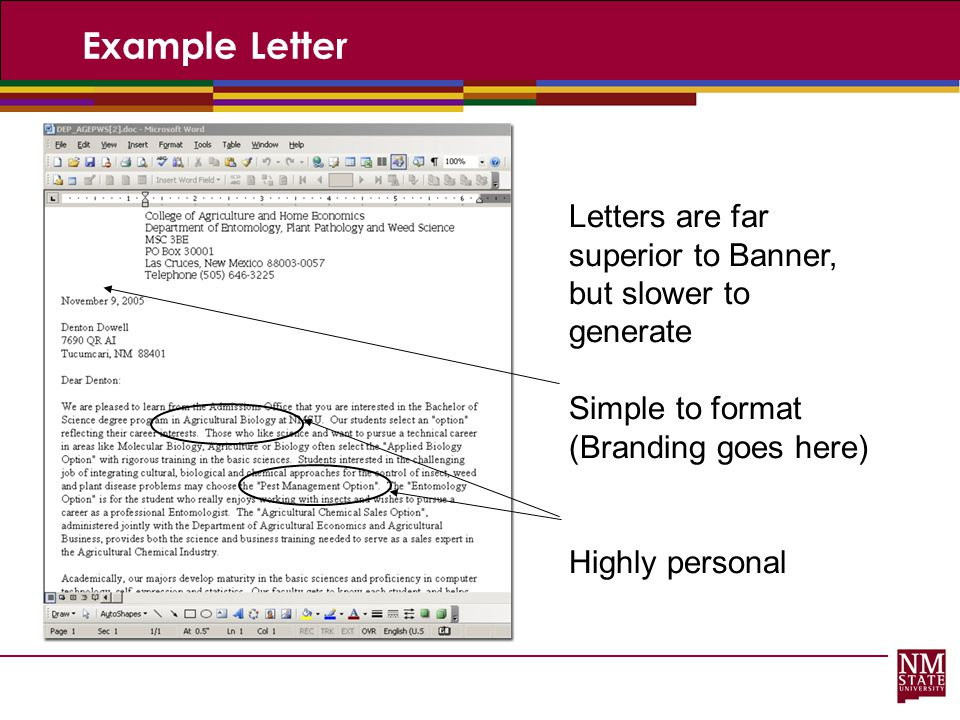 Example Letter Letters are far superior to Banner, but slower to generate. Simple to format. (Branding goes here)
