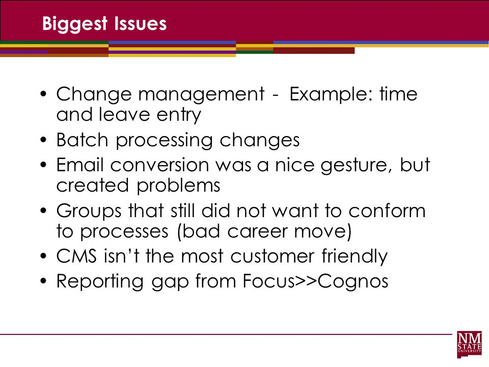 Biggest Issues Change management - Example: time and leave entry. Batch processing changes.