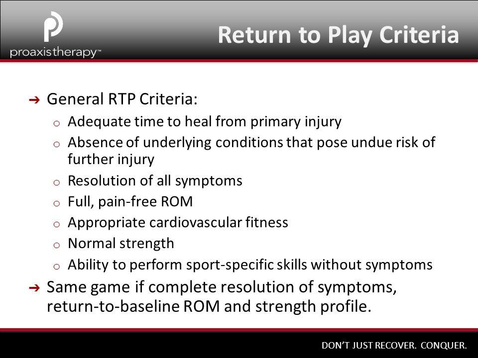 Return to Play Criteria