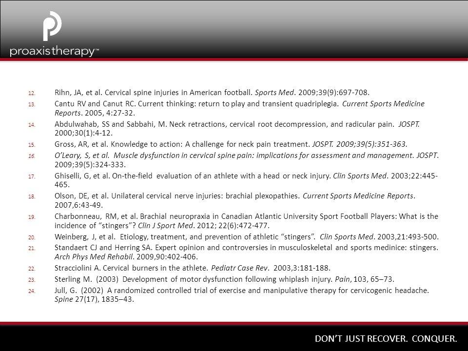 Rihn, JA, et al. Cervical spine injuries in American football