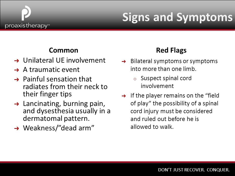Signs and Symptoms Common Red Flags Unilateral UE involvement