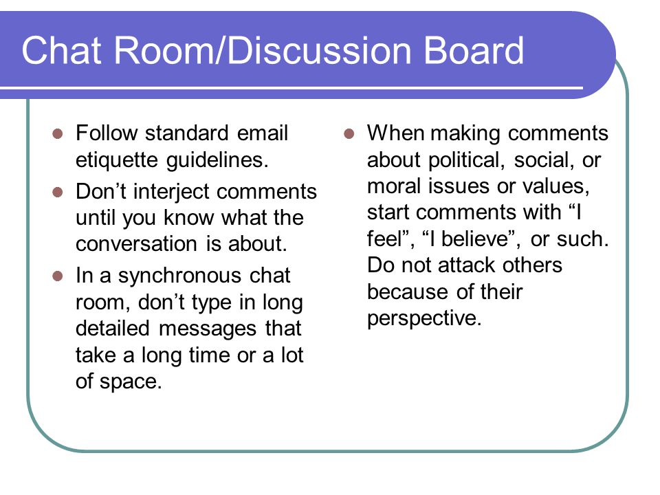Chat Room/Discussion Board