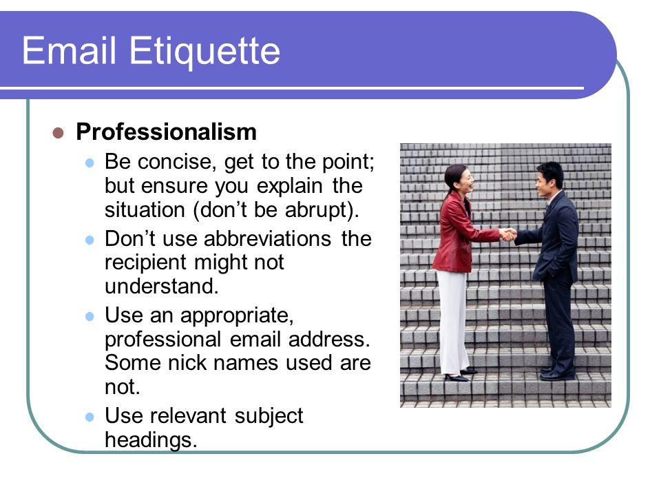 Email Etiquette Professionalism