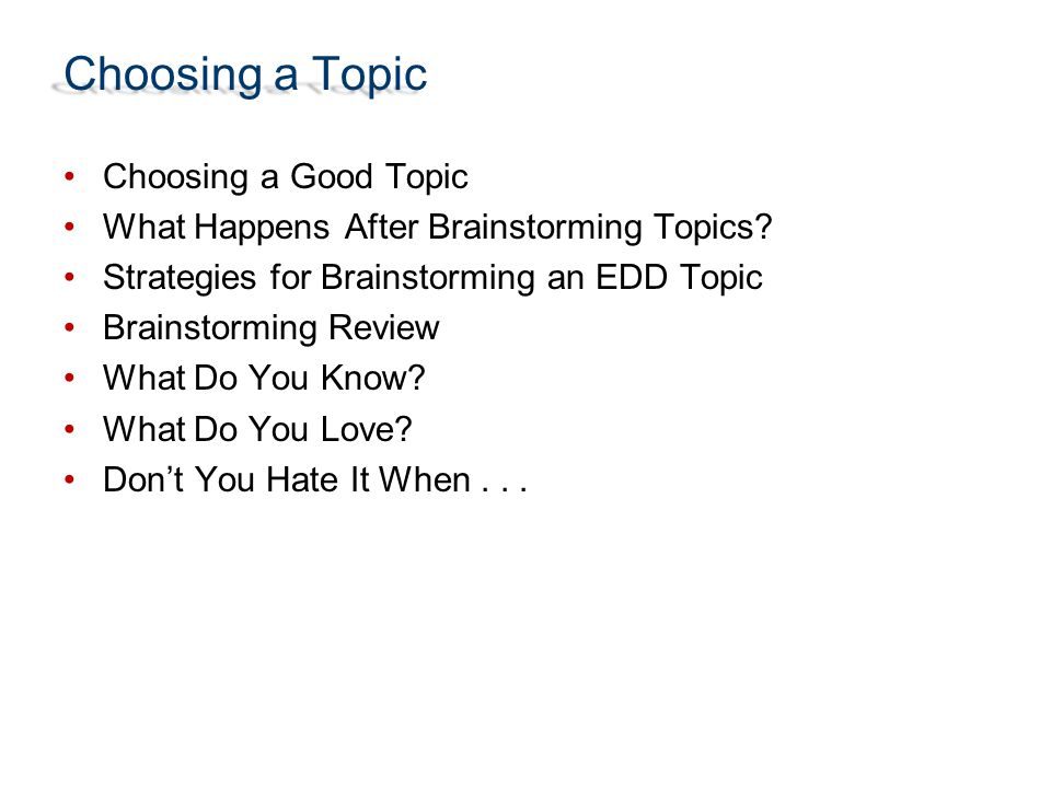 choosing a topic ppt  choosing a topic choosing a good topic