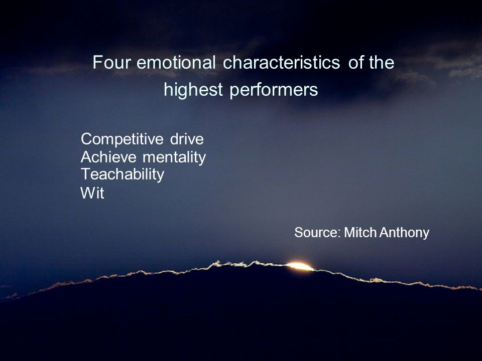 Four emotional characteristics of the