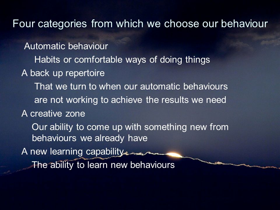 Four categories from which we choose our behaviour