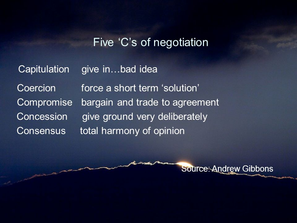 Five 'C's of negotiation