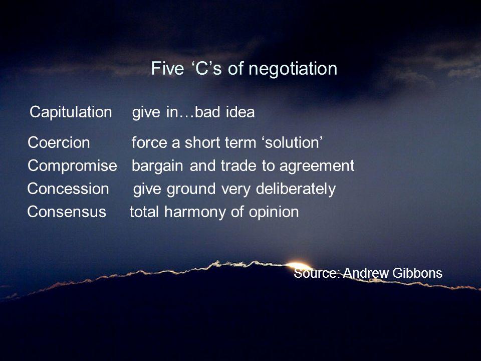 Five 'C's of negotiation