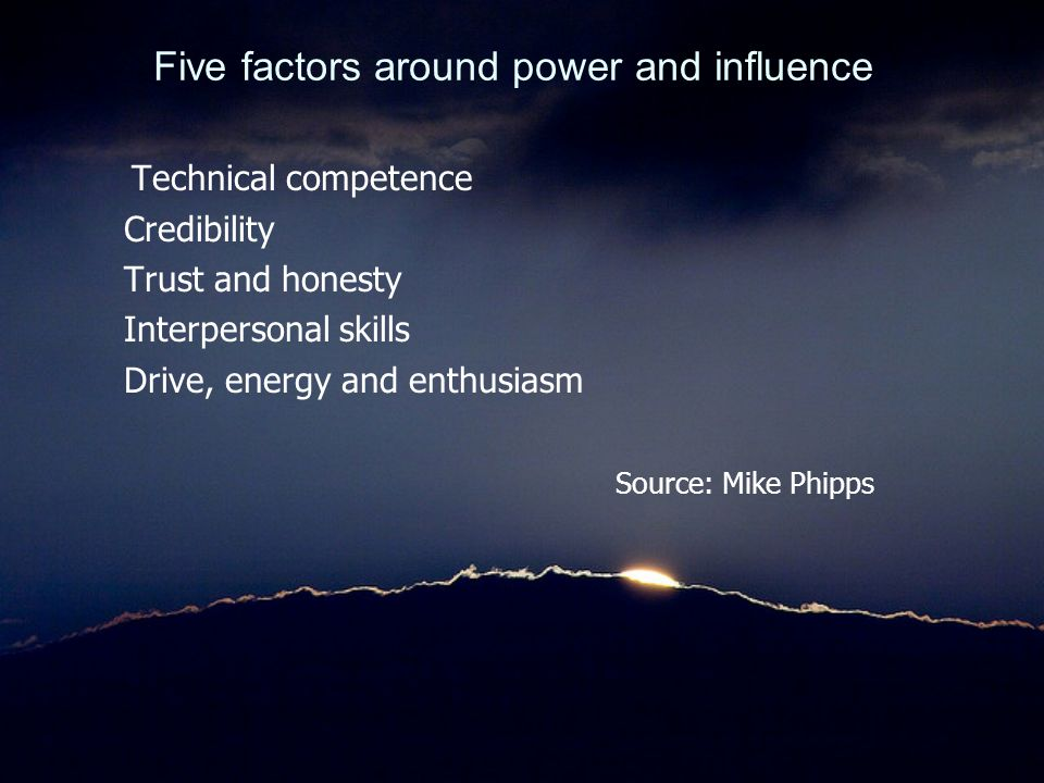 Five factors around power and influence