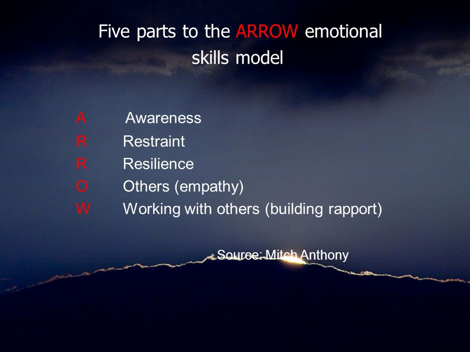 Five parts to the ARROW emotional