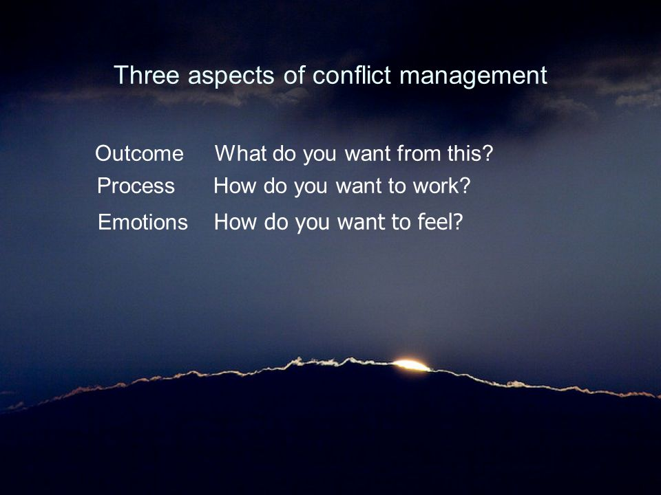 Three aspects of conflict management