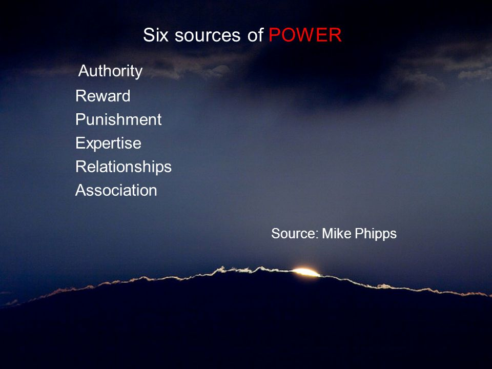 Authority Source: Mike Phipps Six sources of POWER Reward Punishment