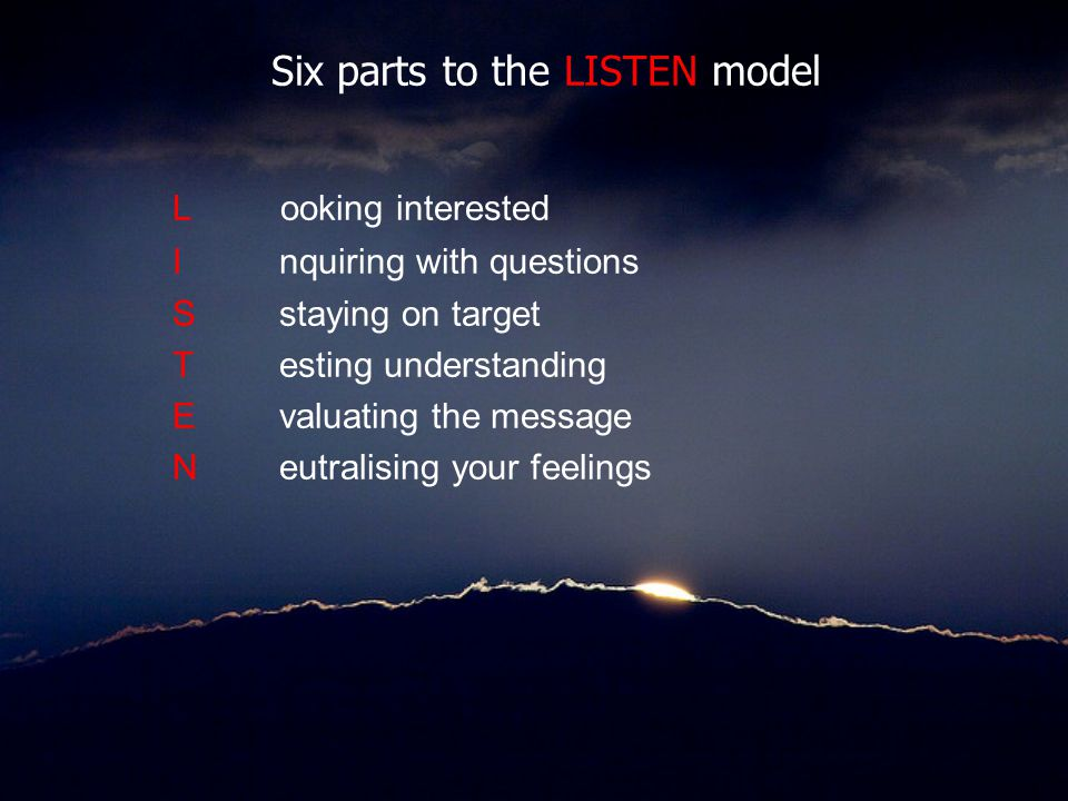 Six parts to the LISTEN model