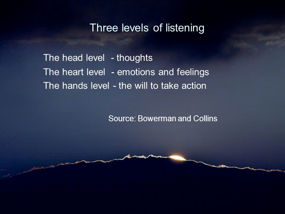 Three levels of listening