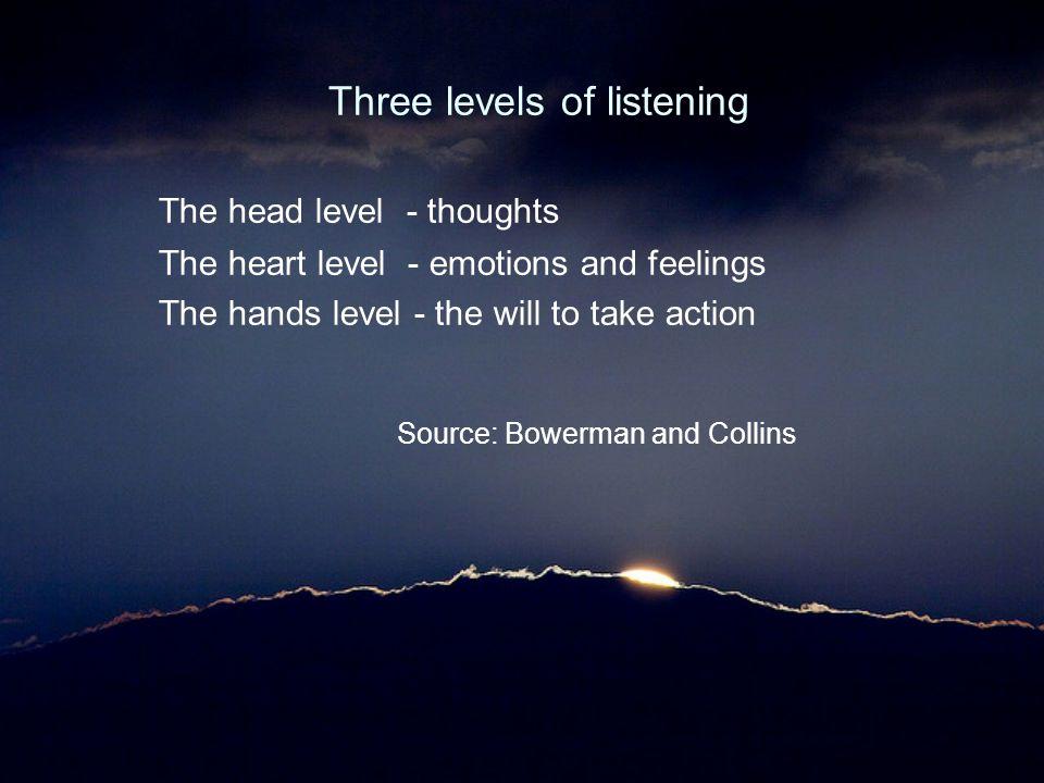 Three levels of listening