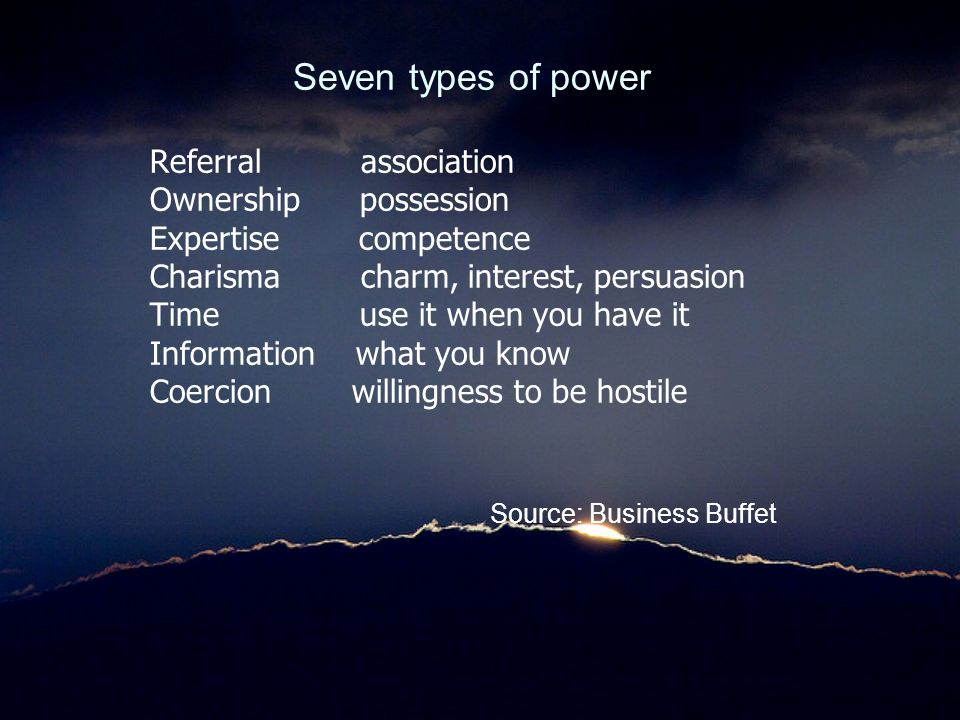 Seven types of power Referral association Ownership possession