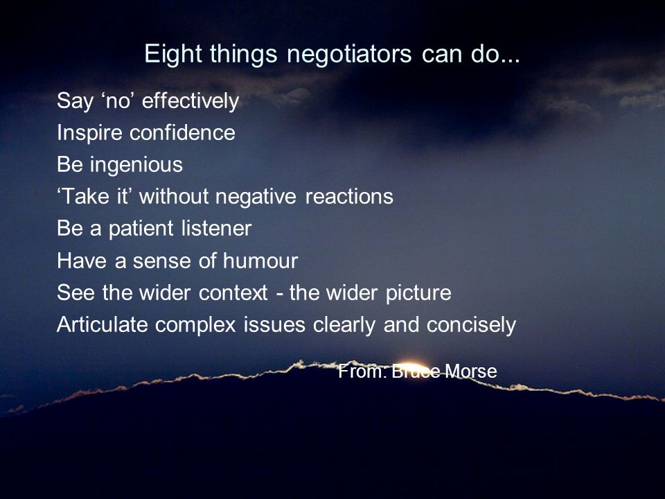 Eight things negotiators can do...
