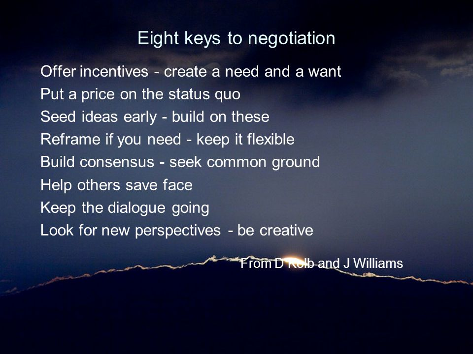 Eight keys to negotiation