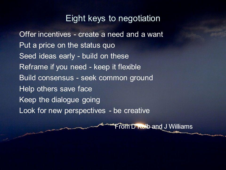 Eight keys to negotiation