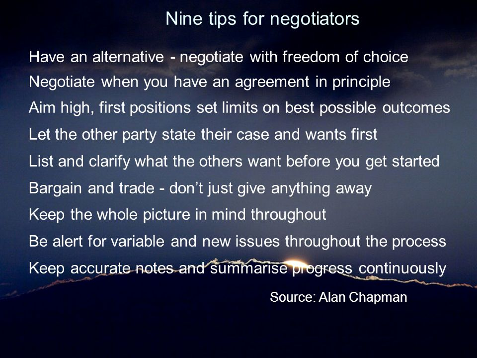 Nine tips for negotiators
