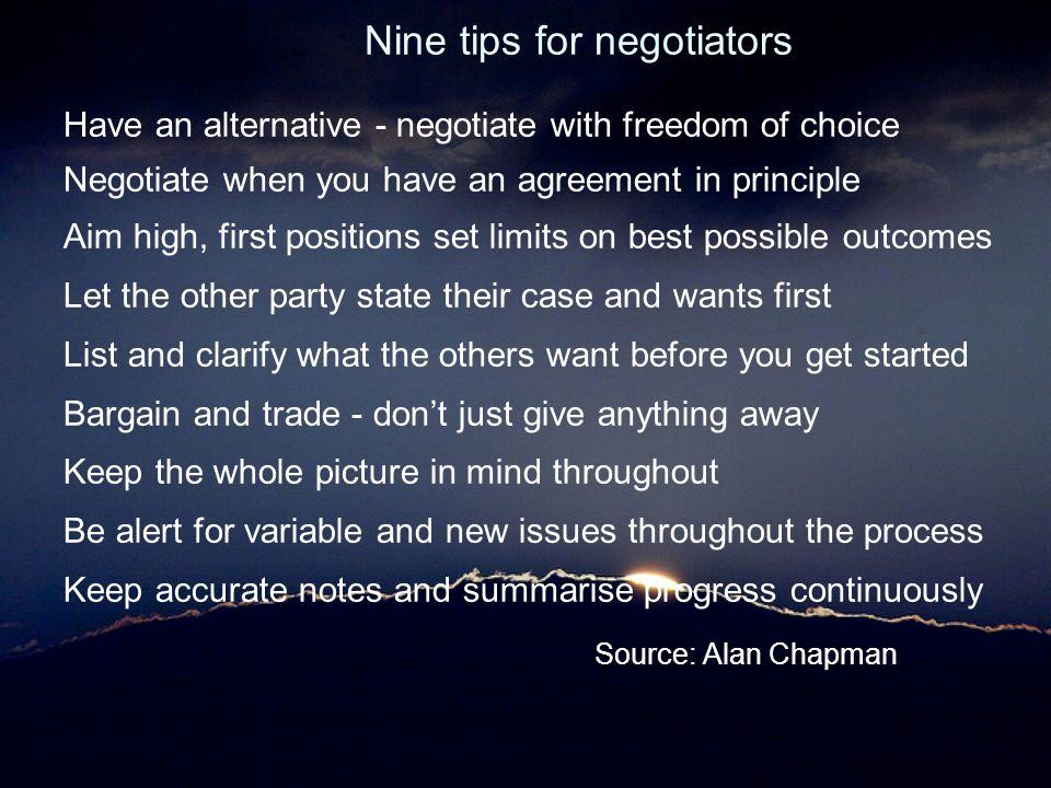 Nine tips for negotiators