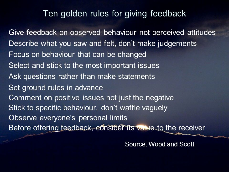 Ten golden rules for giving feedback