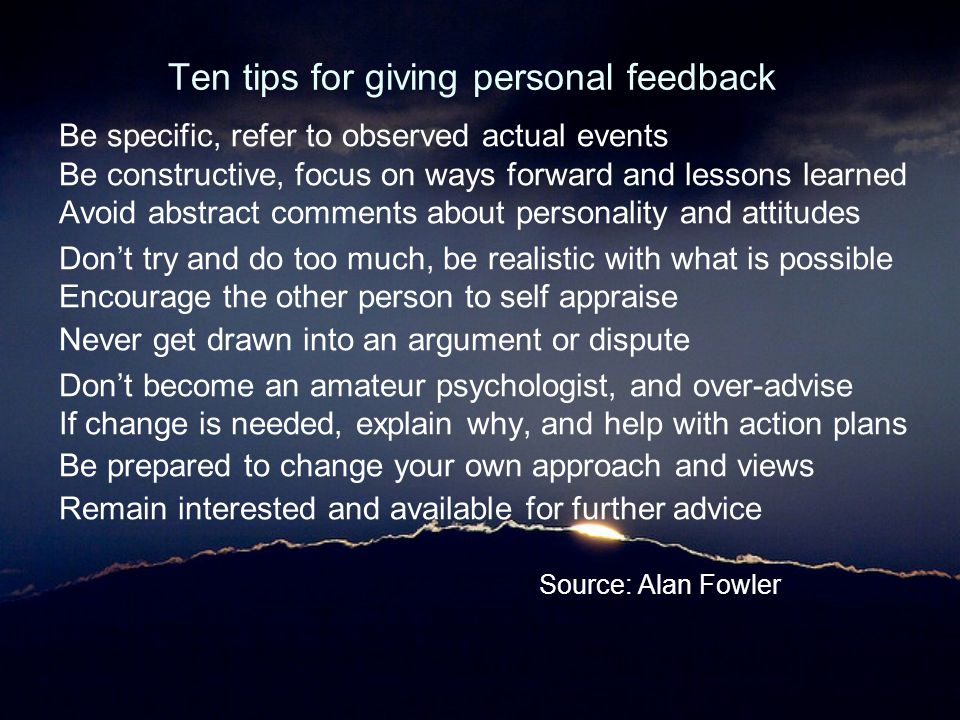 Ten tips for giving personal feedback