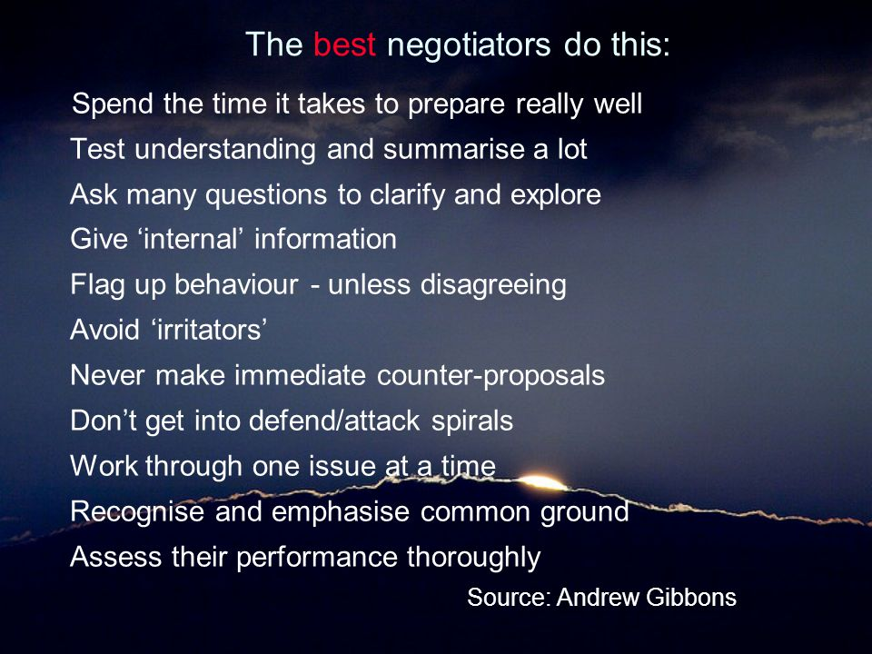 The best negotiators do this: