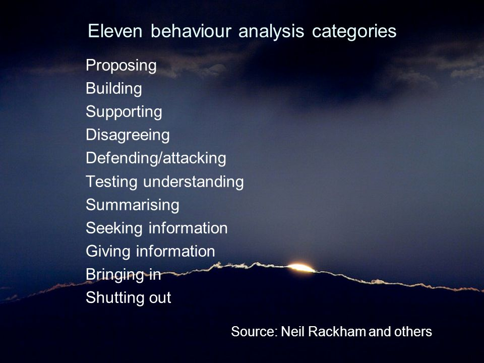 Eleven behaviour analysis categories