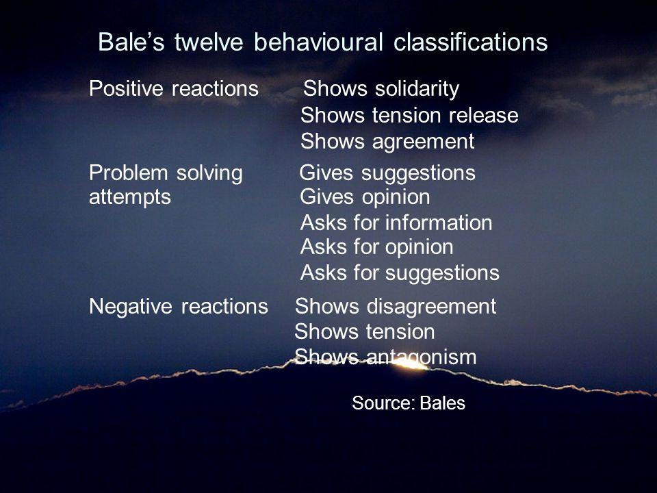 Bale's twelve behavioural classifications