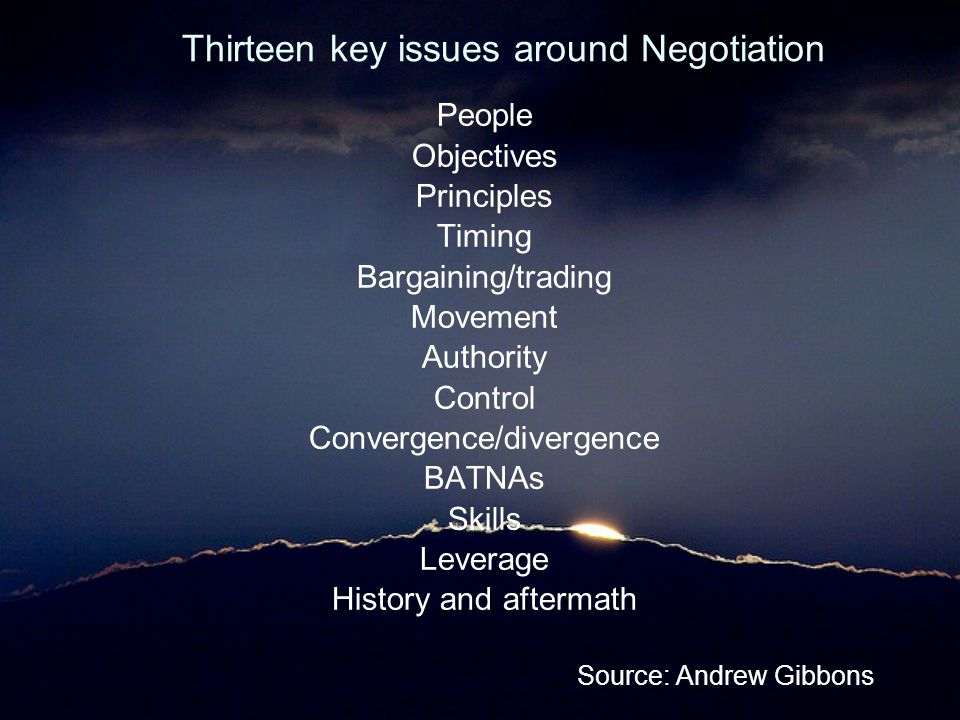 Thirteen key issues around Negotiation