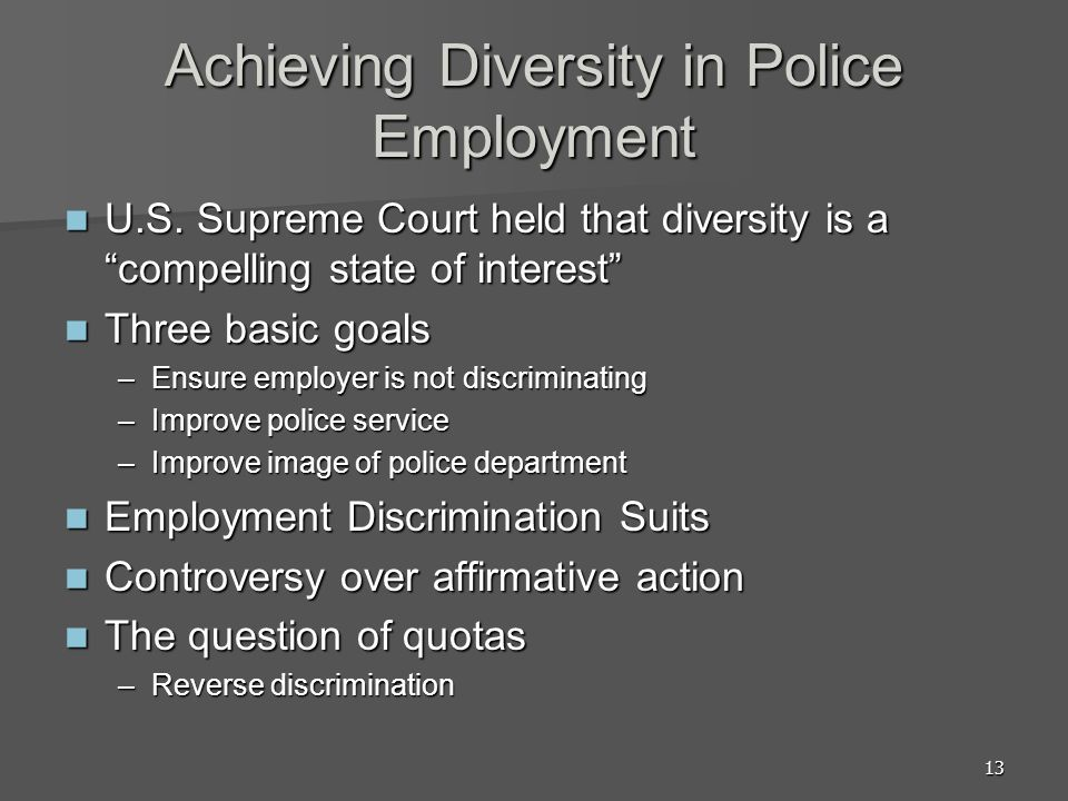 Achieving Diversity in Police Employment