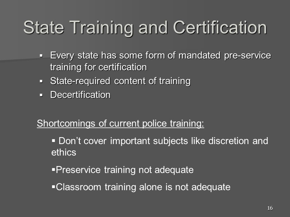 State Training and Certification