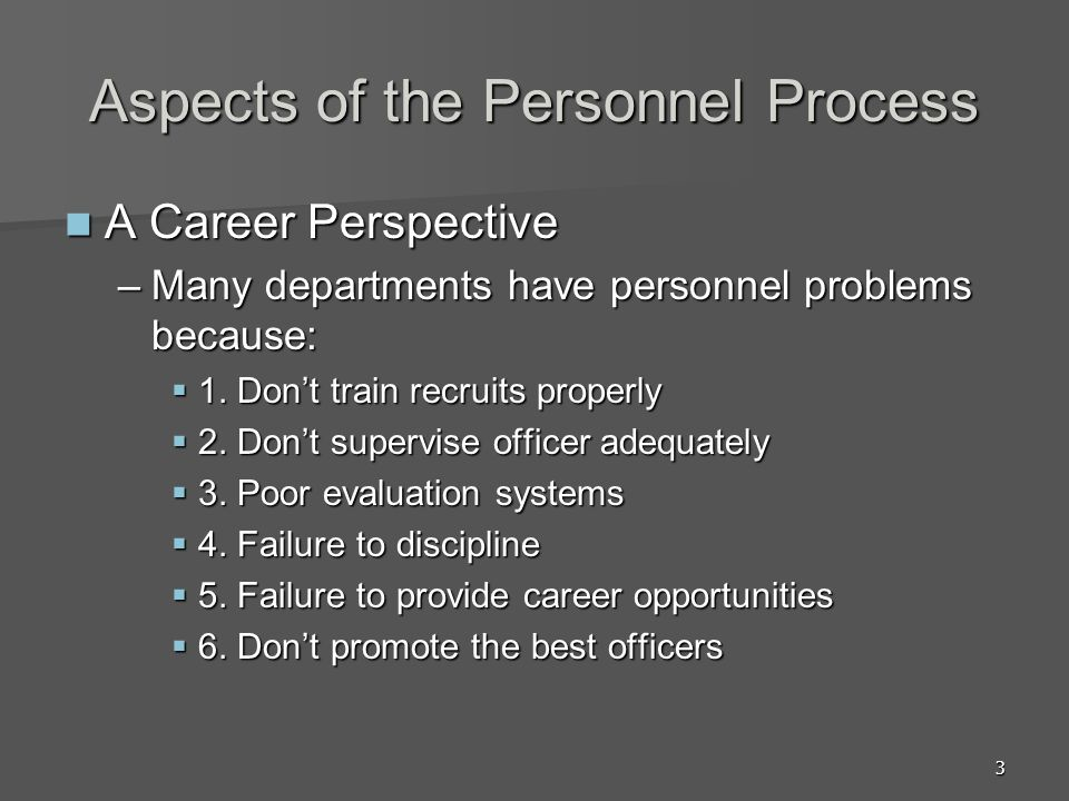 Aspects of the Personnel Process