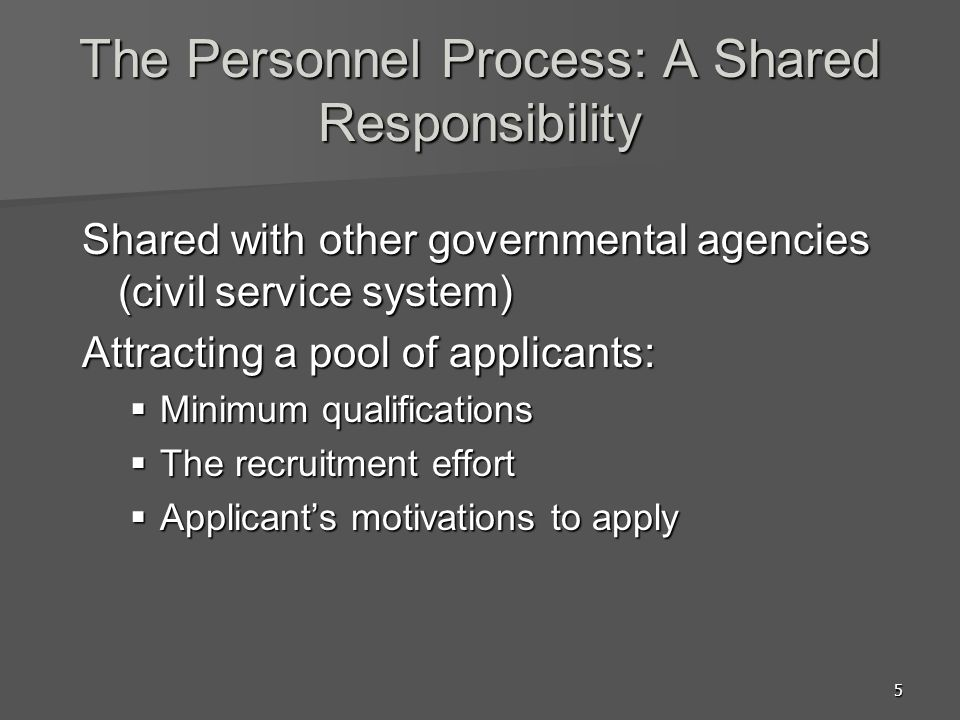 The Personnel Process: A Shared Responsibility