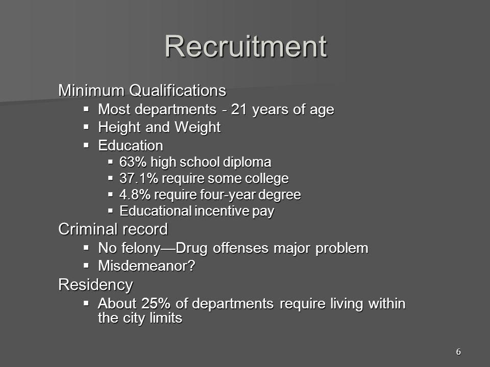 Recruitment Minimum Qualifications Criminal record Residency