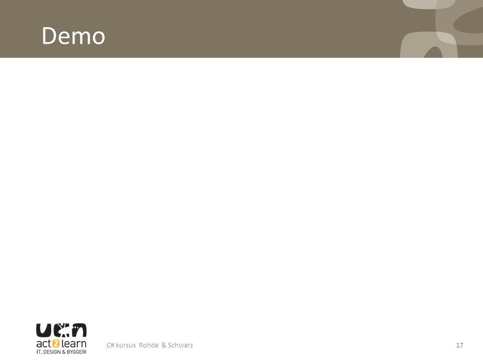 Demo C# kursus Rohde & Schwarz