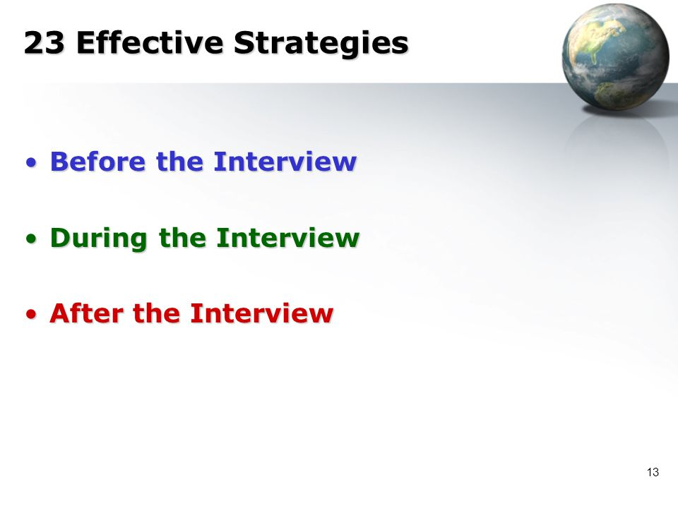 23 Effective Strategies Before the Interview During the Interview