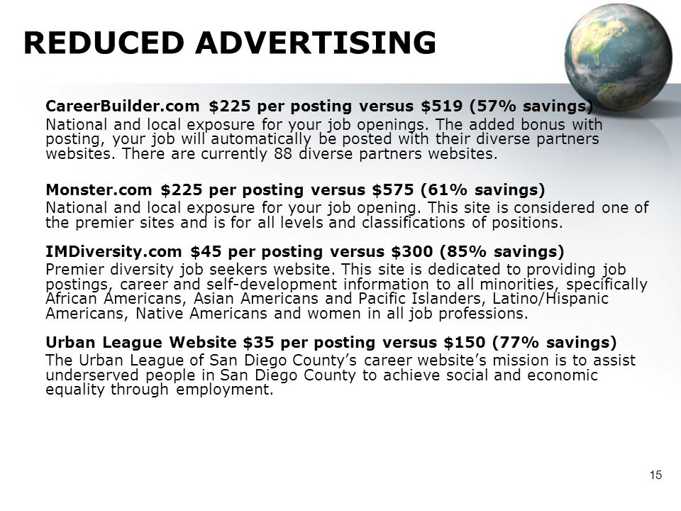 REDUCED ADVERTISING CareerBuilder.com $225 per posting versus $519 (57% savings)