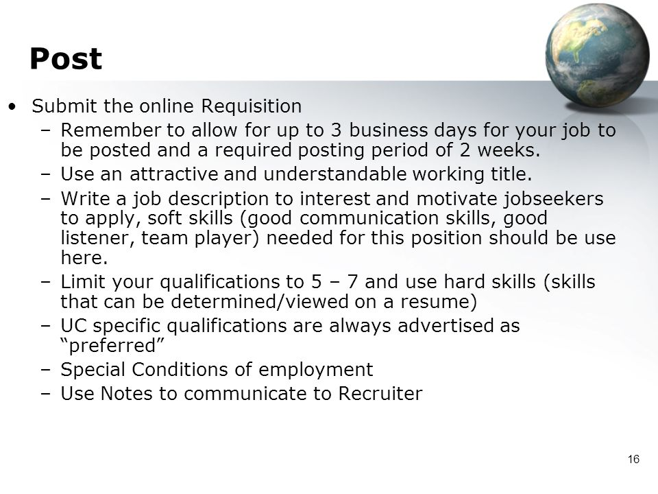 Post Submit the online Requisition
