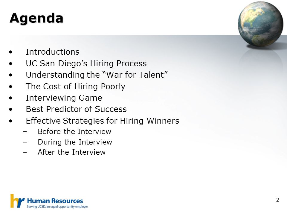 Agenda Introductions UC San Diego's Hiring Process
